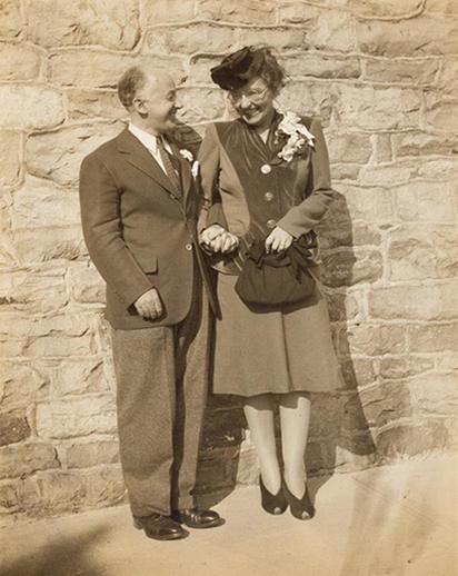 Henry and Sidney on their wedding day, 27 September 1941. Henry Cowell Papers, JPB 00-03, Music Division, New York Public Library / [unidentified photographer]