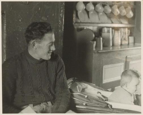 John Beag Johnny Ó Dioráin (1925-2004) with his son Gerard, Sruthán, Árainn, August 1956, courtesy of the American Folklife Center, Library of Congress / Sidney Robertson Cowell