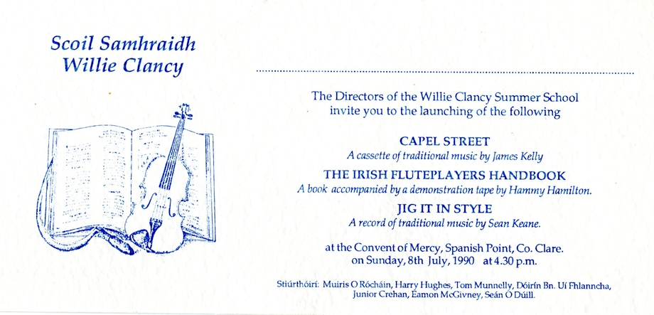 Scoil Samhraidh Willie Clancy, Launch invitation, 1990