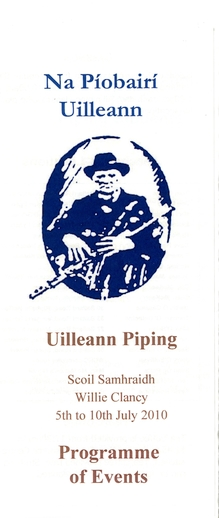 Na Piobairí Uilleann programme of events at Willie Clancy Summer School, 2010