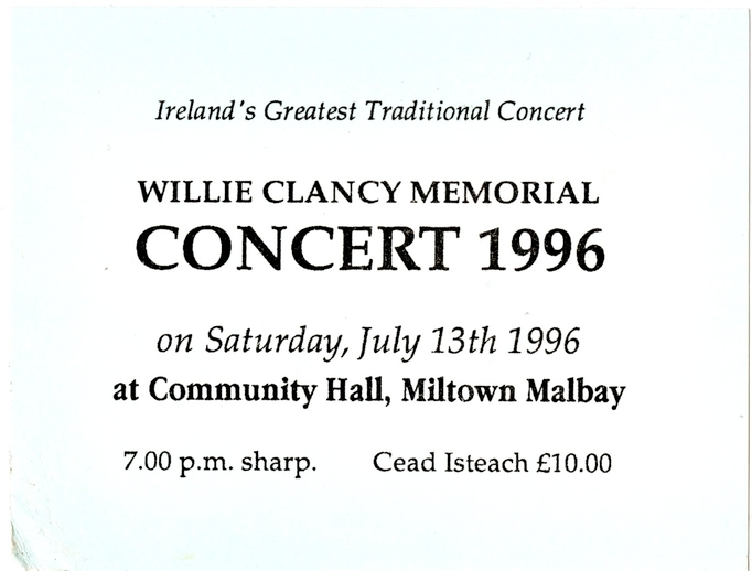 Ticket for Willie Clancy Memorial Concert, 1996