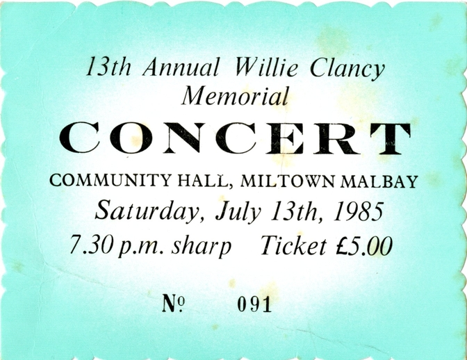Ticket for Willie Clancy Memorial Concert, 1985