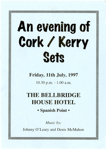 Willie Clancy Summer School, an evening of Cork/Kerry sets, 1997
