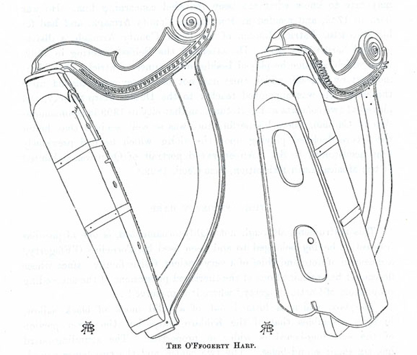 The O'Ffogerty Harp, drawing / Robert Bruce Armstrong