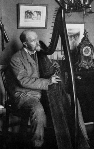 Robert Bruce Armstrong, harp / unidentified photographer