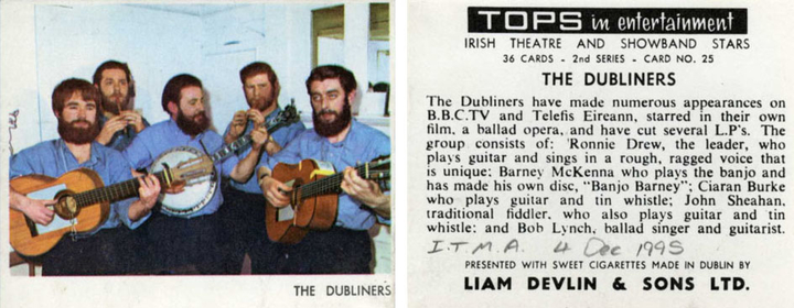 The Dubliners, group, 1967 / unidentified photographer