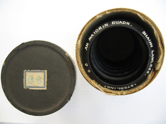 Sterling cylinder lid and rim.  An maidrin rua : Shaun Lawless / Henri Chamoux