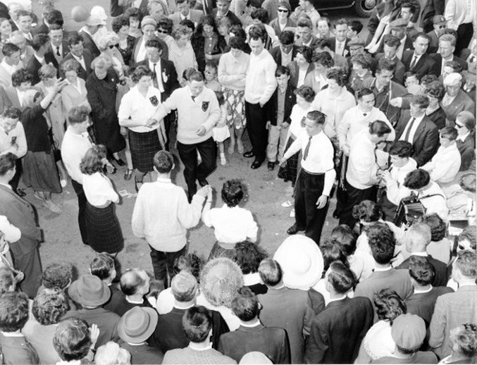 Group of set dancers and musicians at the Fleadh Cheoil, Gorey, 1962 / Bord Fáilte