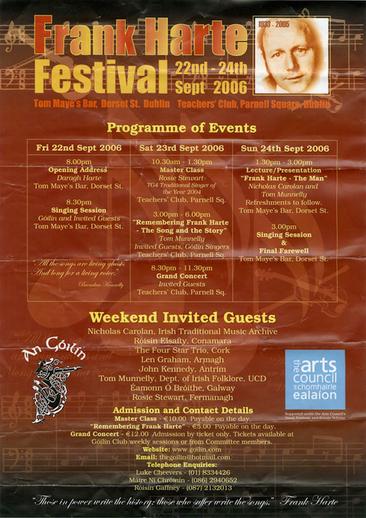 Frank Harte Festival : 22nd–24th Sept 2006