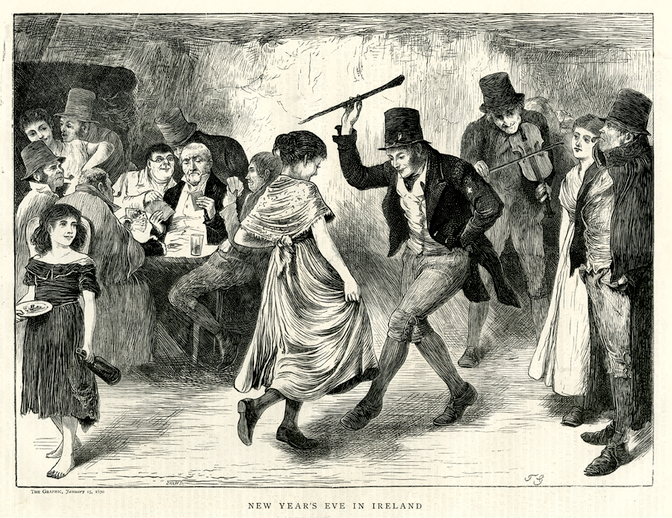 New year's eve in Ireland, 1870 / [unidentified artist]
