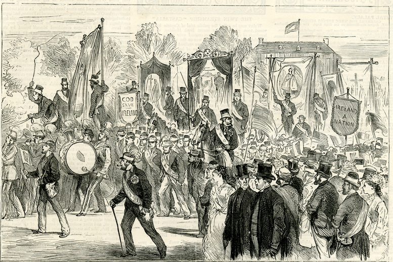 O'Connell centenary celebration in Dublin, 1875 / [unidentified artist]