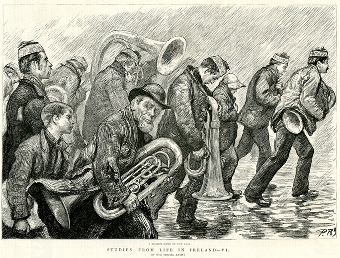 A league band in the rain, 1888 / [unidentified artist]