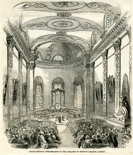 Grand musical performance in the theatre of Trinity College, Dublin, 1851 / [unidentified artist]