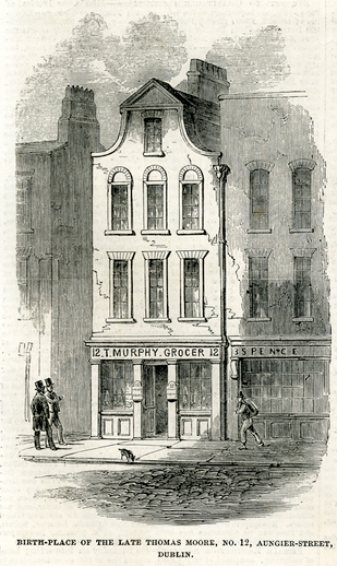 Birth-place of the late Thomas Moore,1852 / [unidentified artist]