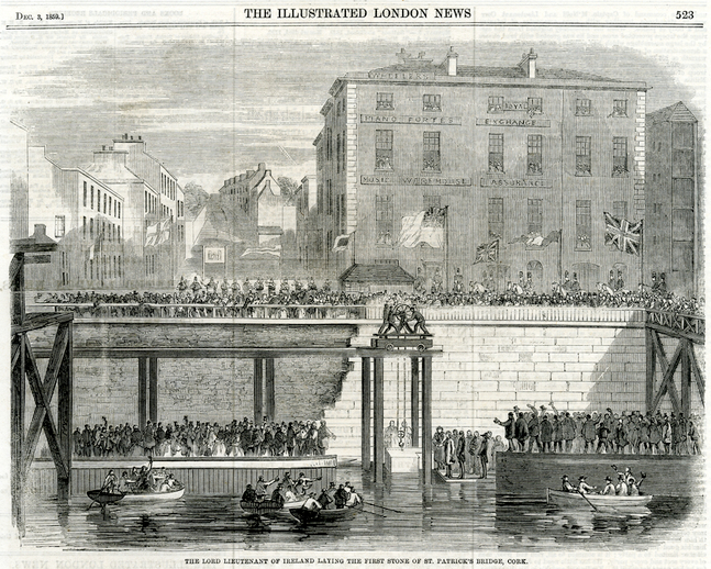 Laying the first stone of St. Patrick's bridge, Cork, 1859 / [unidentified artist]