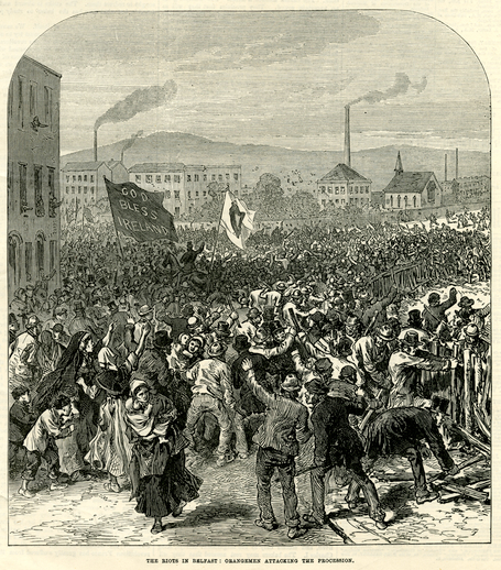 The riots in Belfast: Orangemen attacking the procession, 1872 / [unidentified artist]