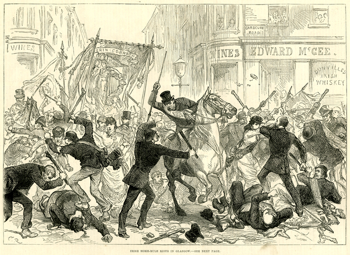 Irish Home Rule riots in Glasgow,1880 / M. R.