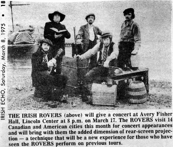 Irish Rovers, group, 1975 / Irish Echo photographer