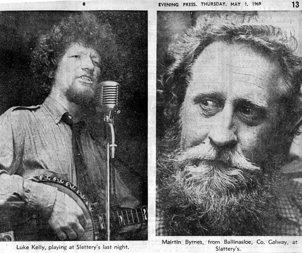 Luke Kelly, singer, & Máirtín Byrnes, fiddle, 1969 / Evening Press photographer