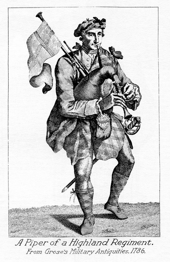 Piper of a Highland regiment, pipes, 1786 / Francis Grose