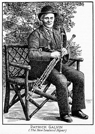 Patrick Galvin, uilleann pipes / unidentified artist