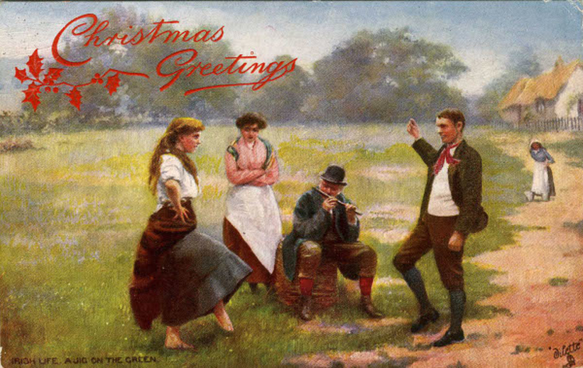 Christmas greetings : Irish life, a jig on the green / unidentified artist