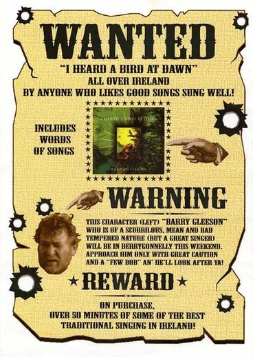 Barry Gleeson, singer, CD promotional poster