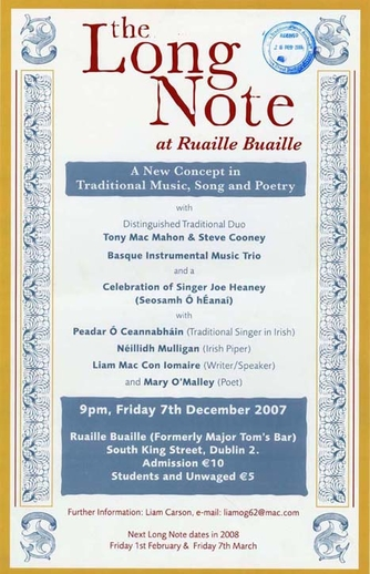 The Long Note at Ruaille Buaille, 2007, event poster