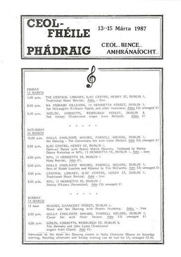 Ceol-Fhéile Phádraig, 1987, event poster