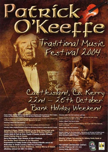 Patrick O'Keeffe Traditional Music Festival, 2004, event poster