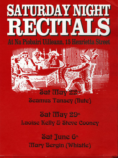 Saturday night recitals at Na Píobairí Uilleann, event poster