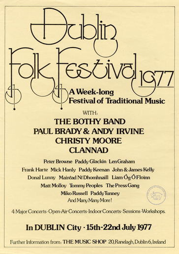 Dublin folk festival, 1977, event poster