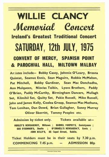 Willie Clancy memorial concert, 1975, event poster