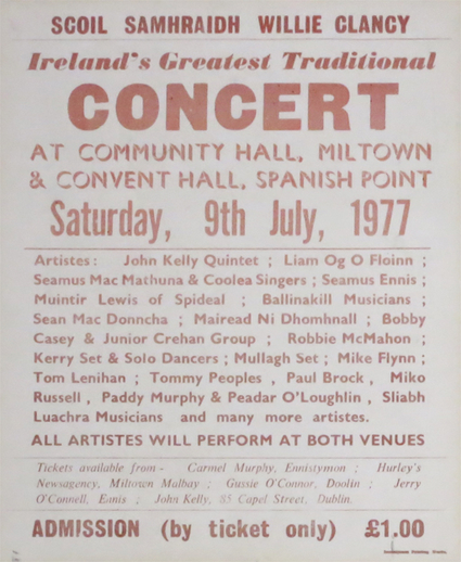 Scoil Samhraidh Willie Clancy : Ireland's greatest traditional concert, 1977, event poster