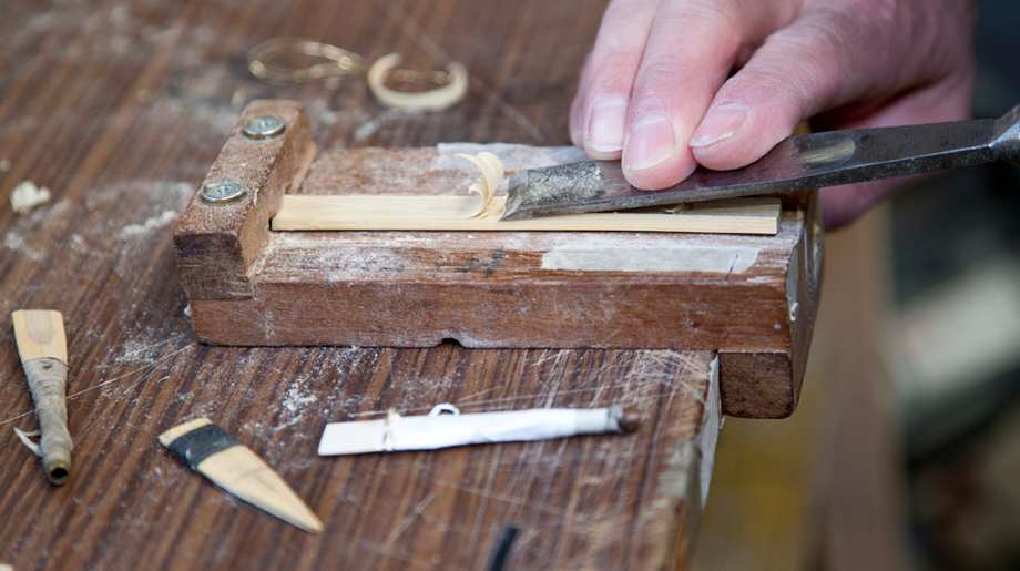 Uilleann pipe maker Michael Vignoles making a reed / Stephen Power