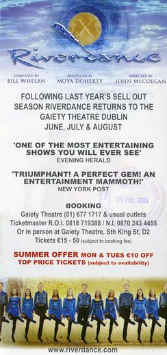 Riverdance 2005, advertisement [verso]