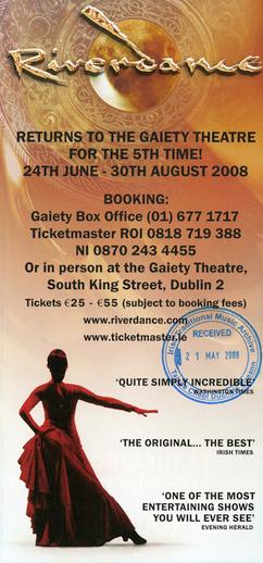 Riverdance 2008, advertisement [verso]