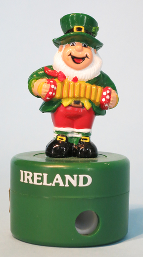 Pencil sharpener featuring a leprechaun playing concertina / ITMA photographer