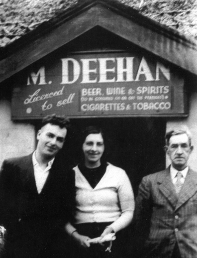 Greta Deehan outside Deehan's bar / [unidentifed photographer]