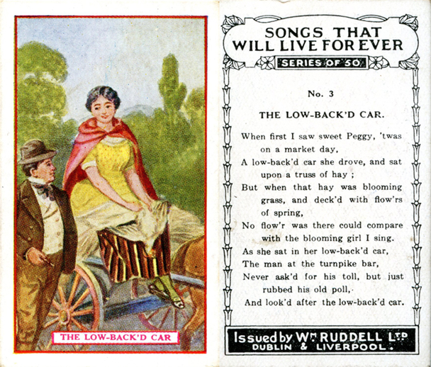 The low back'd car, cigarette card / Wm. Ruddell Ltd.