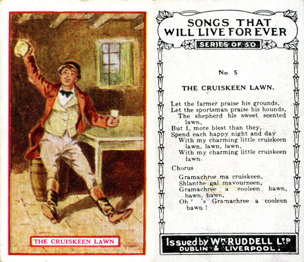 The cruiskeen lawn, cigarette card / Wm. Ruddell Ltd.