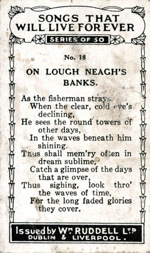 On Lough Neagh's banks, cigarette card [verso] / Wm. Ruddell Ltd.