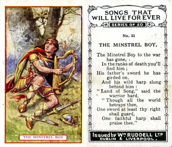The minstrel boy, cigarette card / Wm. Ruddell Ltd.