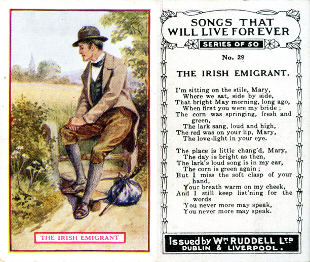 The Irish emigrant, cigarette card / Wm. Ruddell Ltd.