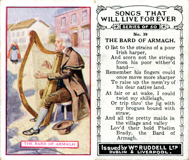 The bard of Armagh, cigarette card / Wm. Ruddell Ltd.