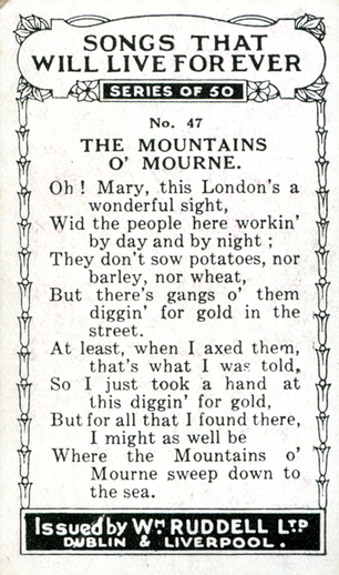 The mountains o' Mourne, cigarette card [verso] / Wm. Ruddell Ltd.
