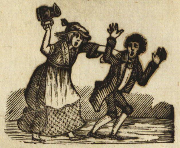 Drunken wife, woodcut