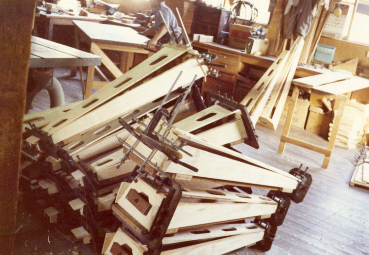 Unfinished harps at the Aoyama harp workshop / [unidentified photographer]