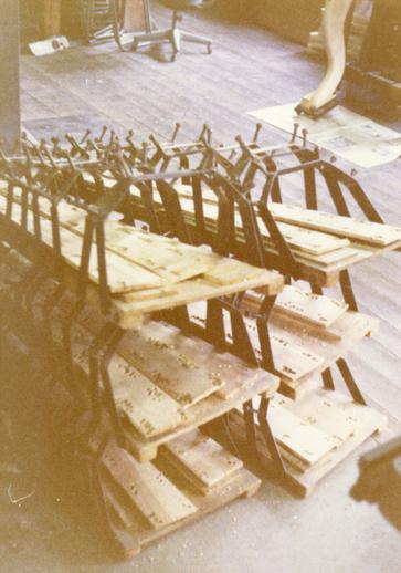 Unfinished harps at Aoyama harp workshop / [unidentified photographer]