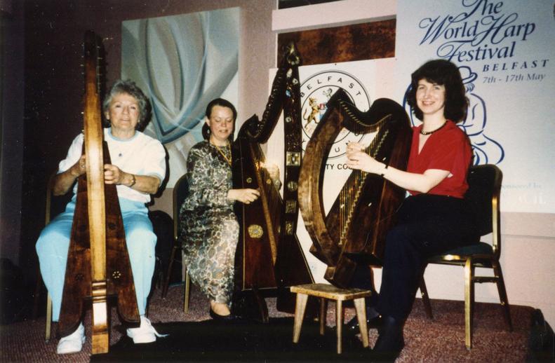 Gráinne Yeats, Ann Heyman and unidentified harper / unidentified photographer